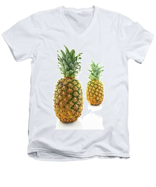 Two Ripe Pineapples, Focus On The Closest One Men's V-Neck T-Shirt