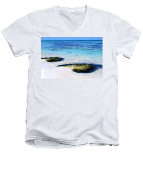 Two Seaweed Mounds On Punta Cana Resort Beach Men's V-Neck T-Shirt by Heather Kirk