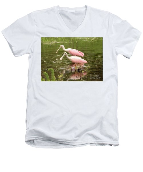 Two Spoonbills In Pond Men's V-Neck T-Shirt