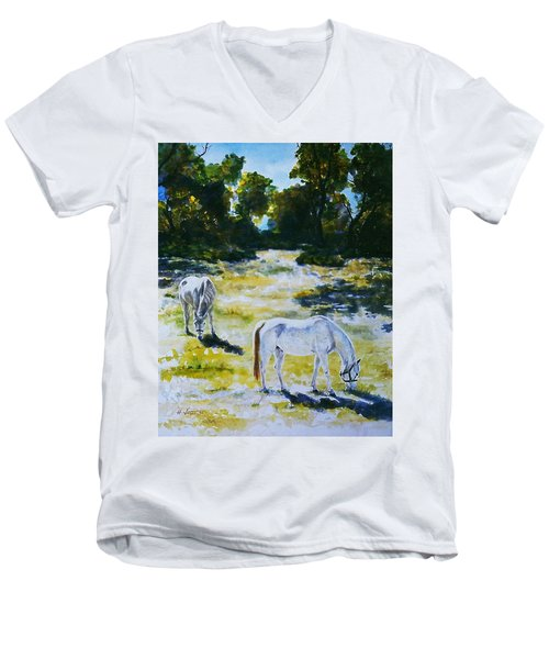 Sunlit Men's V-Neck T-Shirt by Hartmut Jager