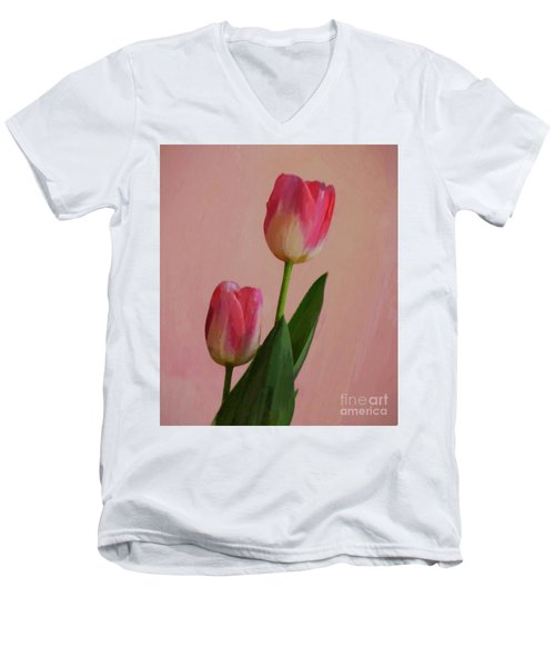 Men's V-Neck T-Shirt featuring the photograph Two Tulips For You by John Kolenberg