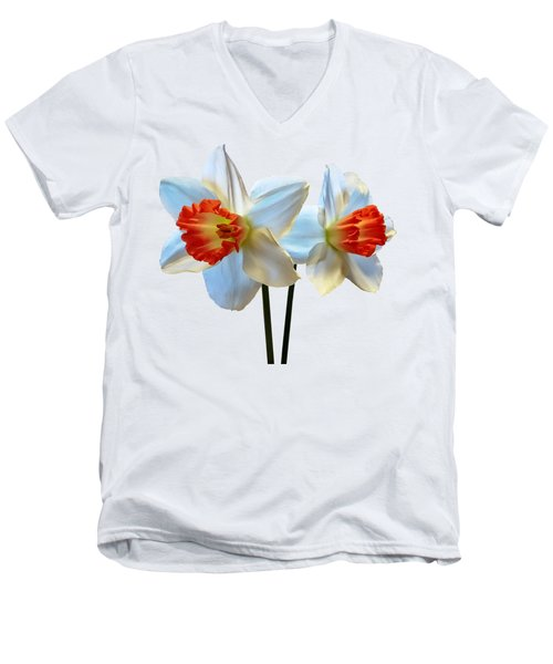 Two White And Orange Daffodils Men's V-Neck T-Shirt