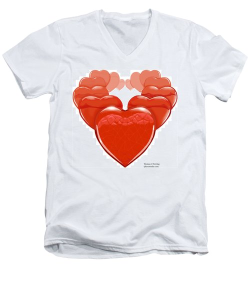 Two Hearts Become One Men's V-Neck T-Shirt