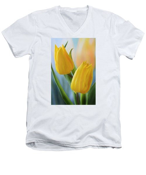 Two Yellow Spring Tulips Men's V-Neck T-Shirt by Terence Davis
