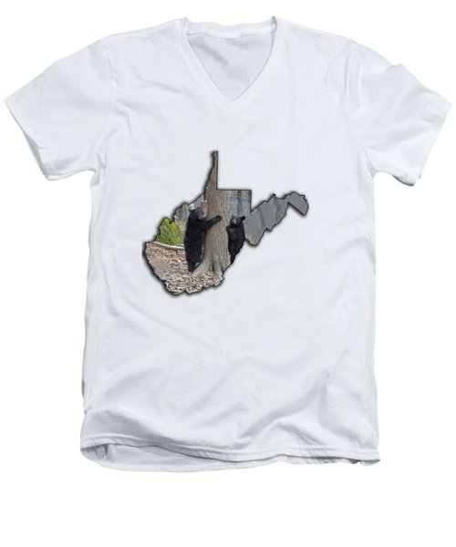 Two Young Black Bear Standing By Tree Men's V-Neck T-Shirt by Dan Friend
