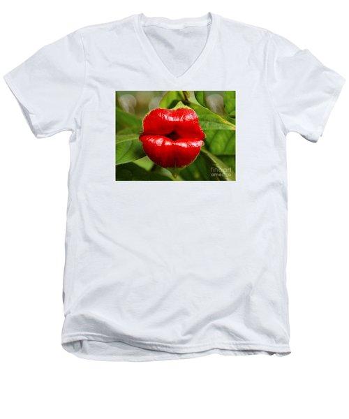 Twolips  - Floral Oddity Men's V-Neck T-Shirt by Merton Allen