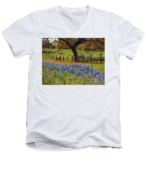 Men's V-Neck T-Shirt featuring the painting Tx Tradition, Bluebonnets by Lisa Spencer