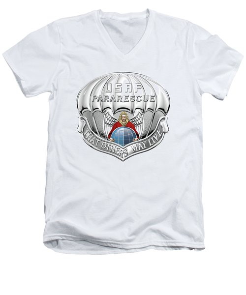 U. S.  Air Force Pararescuemen - P J Badge Over White Leather Men's V-Neck T-Shirt by Serge Averbukh