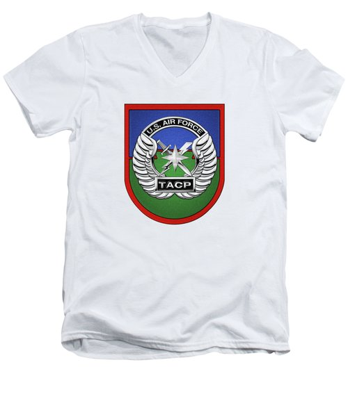 Men's V-Neck T-Shirt featuring the digital art U. S.  Air Force Tactical Air Control Party -  T A C P  Beret Flash With Crest Over White Leather by Serge Averbukh