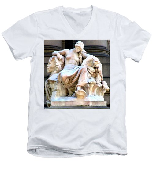 U S Custom House 3 Men's V-Neck T-Shirt by Randall Weidner