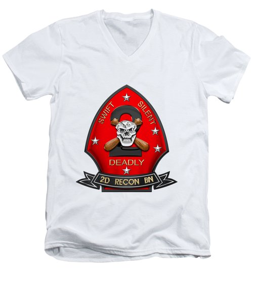 U S M C  2nd Reconnaissance Battalion -  2nd Recon Bn Insignia Over White Leather Men's V-Neck T-Shirt