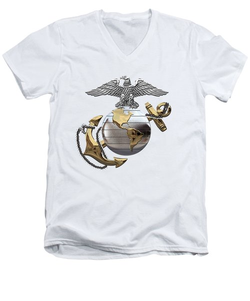 U S M C Eagle Globe And Anchor - C O And Warrant Officer E G A Over White Leather Men's V-Neck T-Shirt