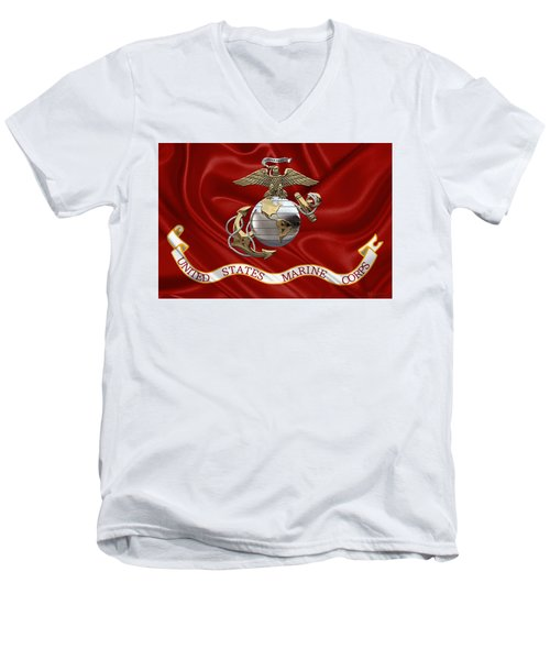 U. S.  Marine Corps - U S M C Eagle Globe And Anchor Over Corps Flag Men's V-Neck T-Shirt
