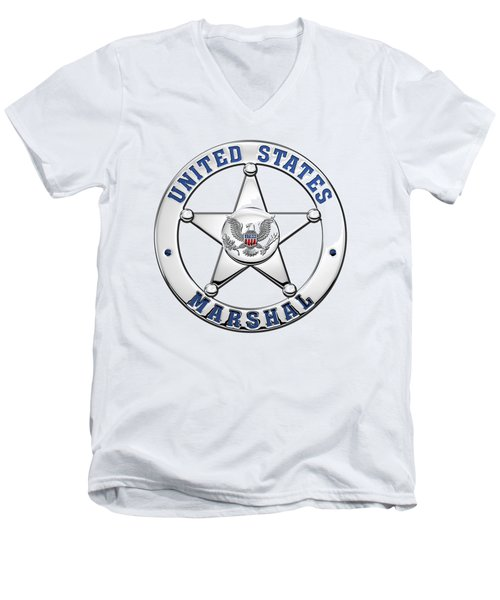 Men's V-Neck T-Shirt featuring the digital art U. S. Marshals Service  -  U S M S  Badge Over White Leather by Serge Averbukh