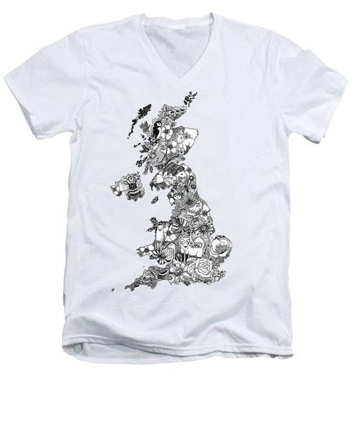 Uk Map Men's V-Neck T-Shirt by Hannah Edge