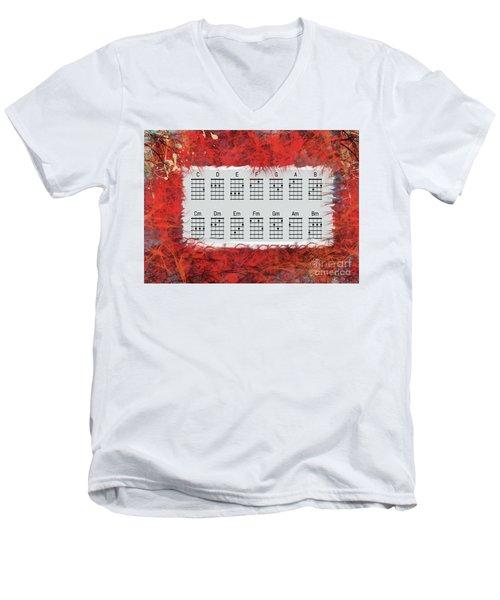 Ukulele Basic Chords Men's V-Neck T-Shirt