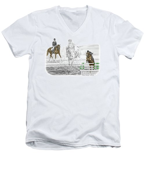 Ultimate Challenge - Horse Eventing Print Color Tinted Men's V-Neck T-Shirt by Kelli Swan