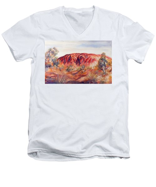 Men's V-Neck T-Shirt featuring the painting Uluru, Central Australia, by Ryn Shell