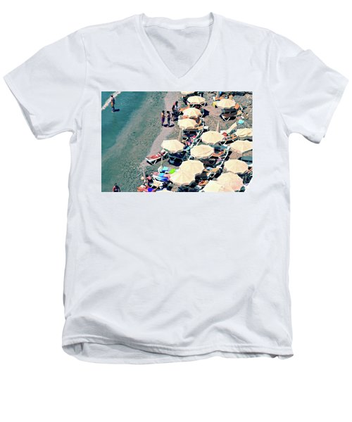 Men's V-Neck T-Shirt featuring the photograph Umbrellas On The Beach - Nerja by Mary Machare