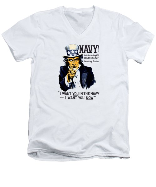 Uncle Sam Wants You In The Navy Men's V-Neck T-Shirt