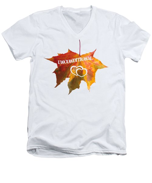 Men's V-Neck T-Shirt featuring the painting Unconditional Love Typography Carved On A Fall Leaf by Georgeta Blanaru