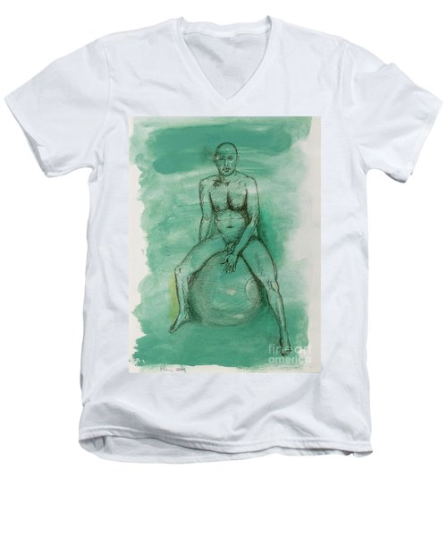 Men's V-Neck T-Shirt featuring the drawing Under Pressure by Paul McKey