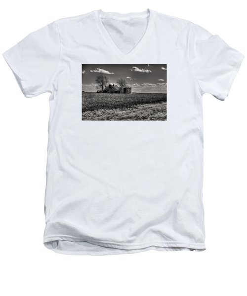 Men's V-Neck T-Shirt featuring the digital art Under The Crush Of The Lowering Sky by William Fields