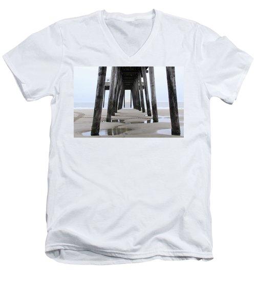 Men's V-Neck T-Shirt featuring the digital art Under The Pier by Sharon Batdorf