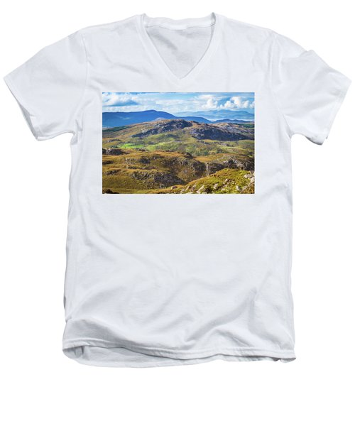 Men's V-Neck T-Shirt featuring the photograph Undulating Landscape In Kerry In Ireland by Semmick Photo