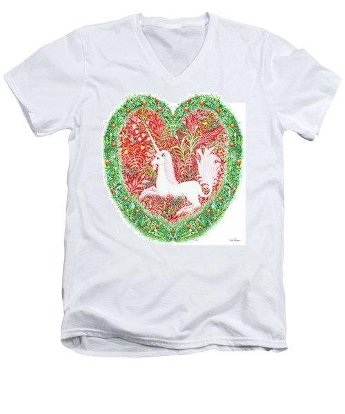 Unicorn Heart With Millefleurs Men's V-Neck T-Shirt by Lise Winne