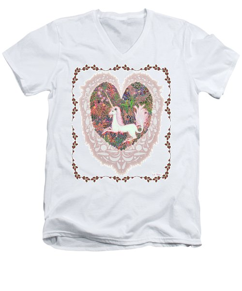 Unicorn In A Pink Heart Men's V-Neck T-Shirt by Lise Winne