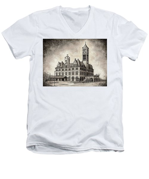 Union Station Mixed Media Men's V-Neck T-Shirt