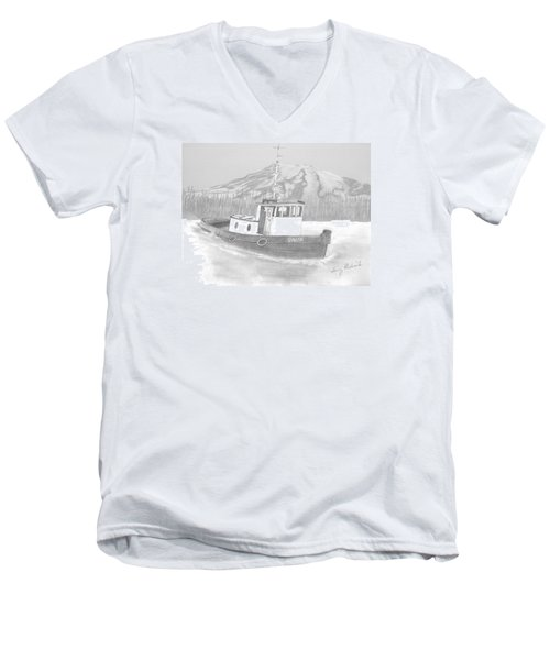 Tugboat Union Men's V-Neck T-Shirt by Terry Frederick