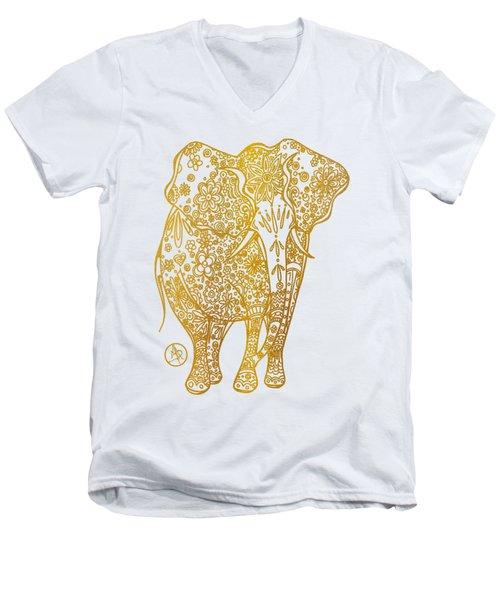 Unique Golden Elephant Art Drawing By Megan Duncanson Men's V-Neck T-Shirt by Megan Duncanson