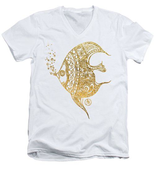 Unique Golden Tropical Fish Art Drawing By Megan Duncanson Men's V-Neck T-Shirt