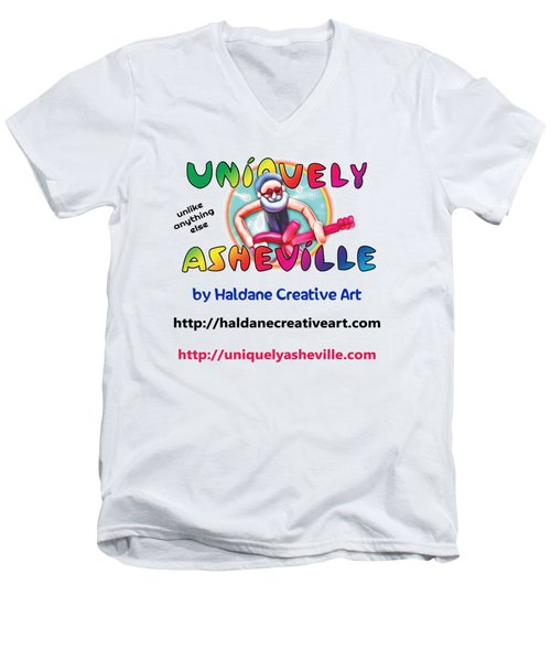 Uniquely Asheville Square Men's V-Neck T-Shirt