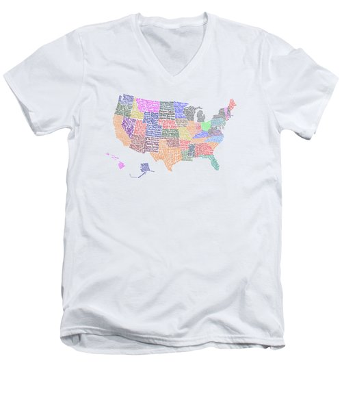 United States Musicians Map Men's V-Neck T-Shirt by Trudy Clementine