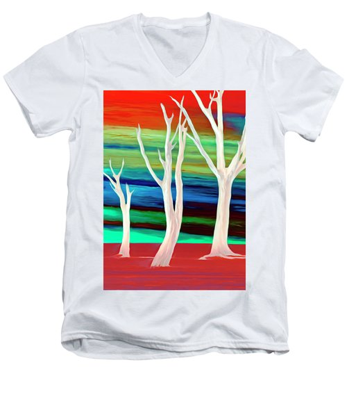 Men's V-Neck T-Shirt featuring the photograph United Trees by Munir Alawi