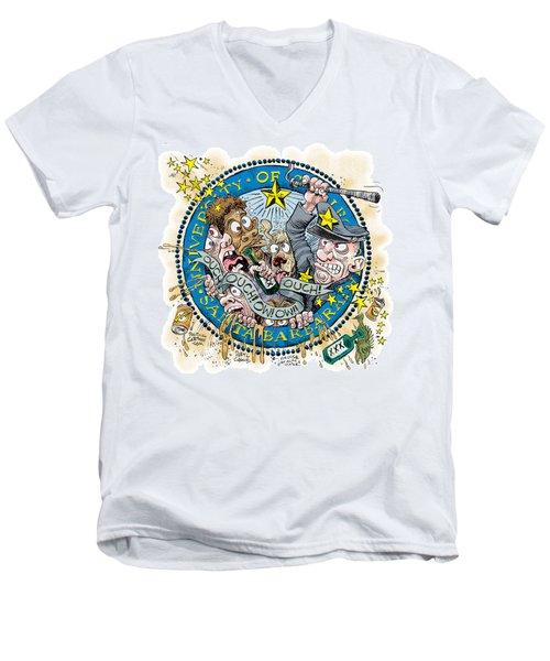 Men's V-Neck T-Shirt featuring the drawing University Of California At Santa Barbara Seal by Daryl Cagle