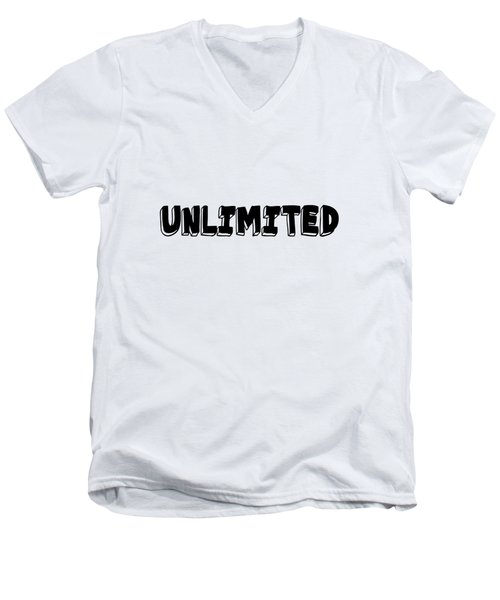 Unlimited - Art Print Poster, One Word Quotes  Men's V-Neck T-Shirt