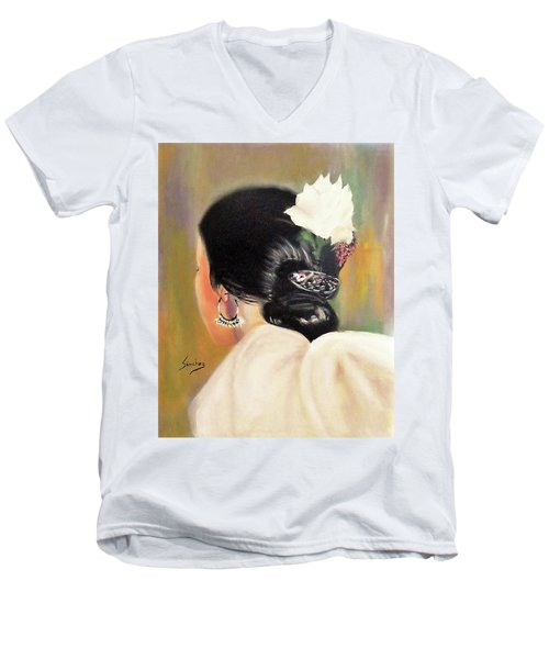 Untitled Dancer With White Flower Men's V-Neck T-Shirt