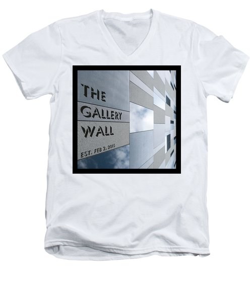 Men's V-Neck T-Shirt featuring the photograph Up The Wall-the Gallery Wall Logo by Wendy Wilton