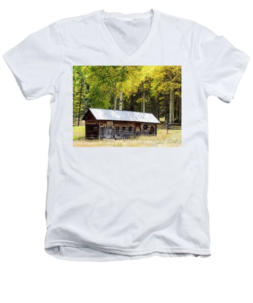 Uptop A Colorado Ghost Town Men's V-Neck T-Shirt by Nadja Rider