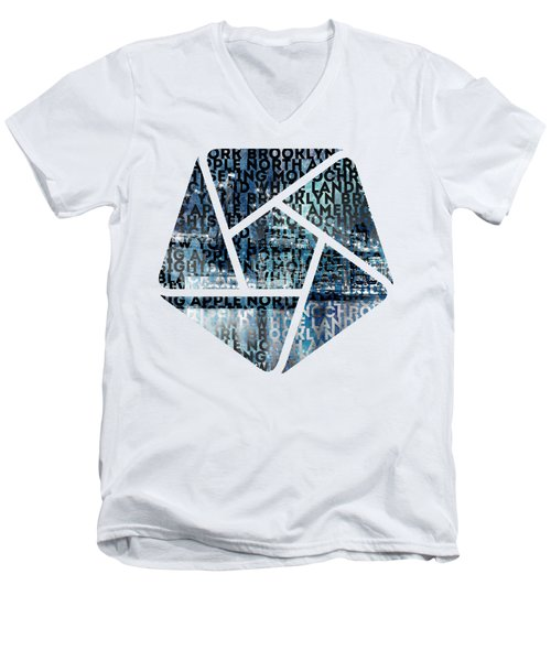 Urban-art Nyc Brooklyn Bridge I Men's V-Neck T-Shirt by Melanie Viola