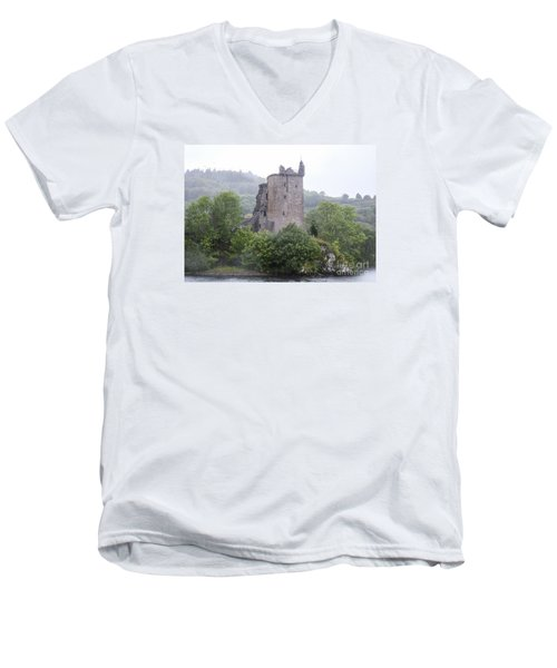 Urquhart Castle - Grant Tower Men's V-Neck T-Shirt by Amy Fearn