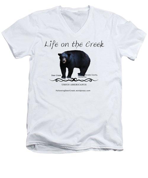 Ursus Americanus - Color Bear Black Text Men's V-Neck T-Shirt