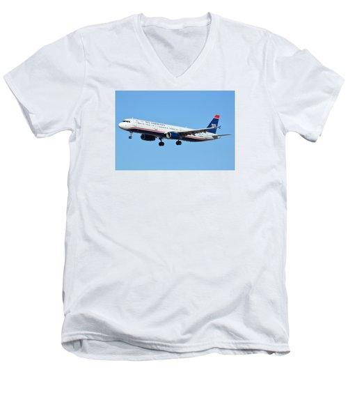 Us Airways Airbus A321-231 N567uw Men's V-Neck T-Shirt