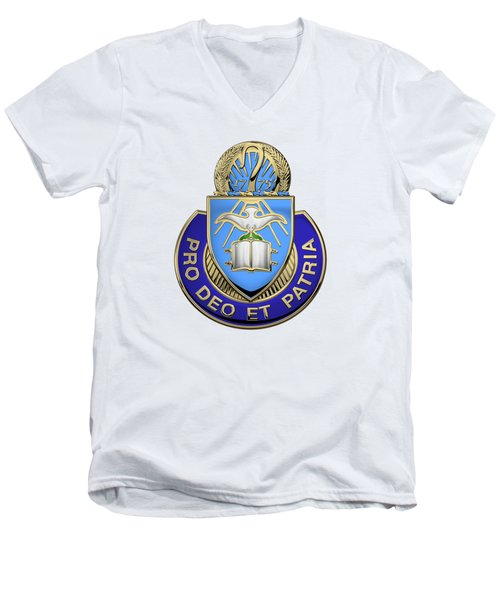 Men's V-Neck T-Shirt featuring the digital art U.s. Army Chaplain Corps - Regimental Insignia Over White Leather by Serge Averbukh