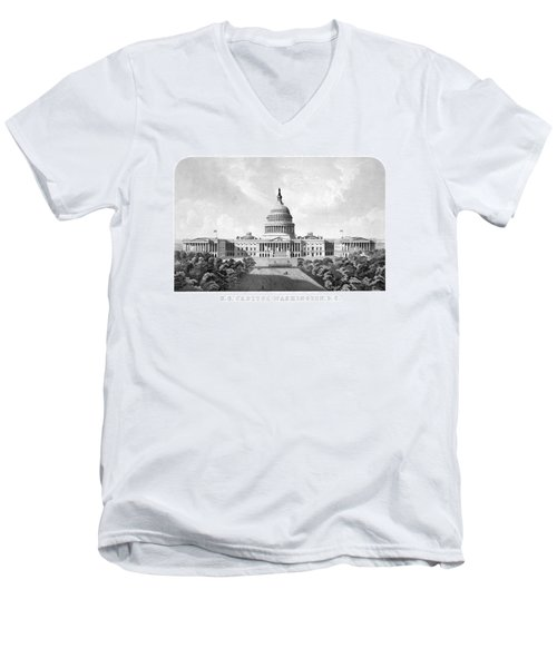 Us Capitol Building - Washington Dc Men's V-Neck T-Shirt by War Is Hell Store