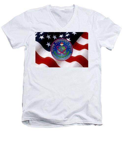 U. S. Defense Intelligence Agency - D I A Emblem Over Flag Men's V-Neck T-Shirt